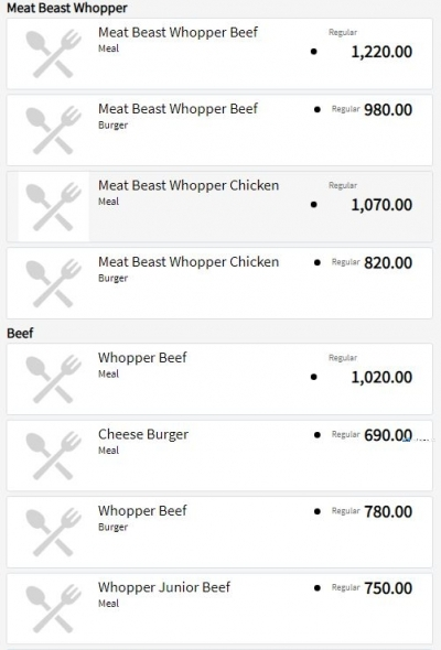 Burger King Food Menu and Price