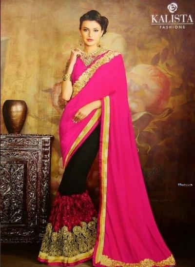 Designer Fuchsia Red & Black Embroidered Saree Price in Srilanka