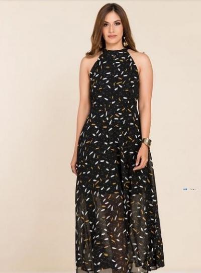 High Neck Printed Party Dress Price in Srilanka