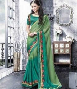 Designer Lime Green Shaded Saree Price in Srilanka